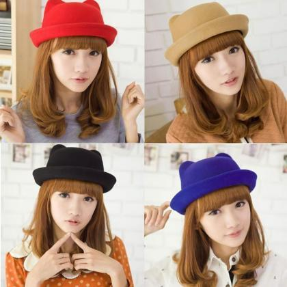 Kawaii Clothing Beanie Cap Ears Bla..