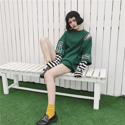 Kawaii Clothing Striped Sleeves T-S..