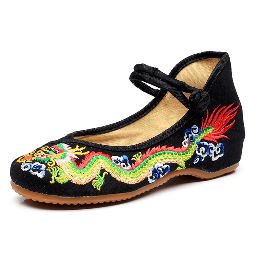 Kawaii Clothing Flats Chinese Japanese Dragon Shoes Embroidery