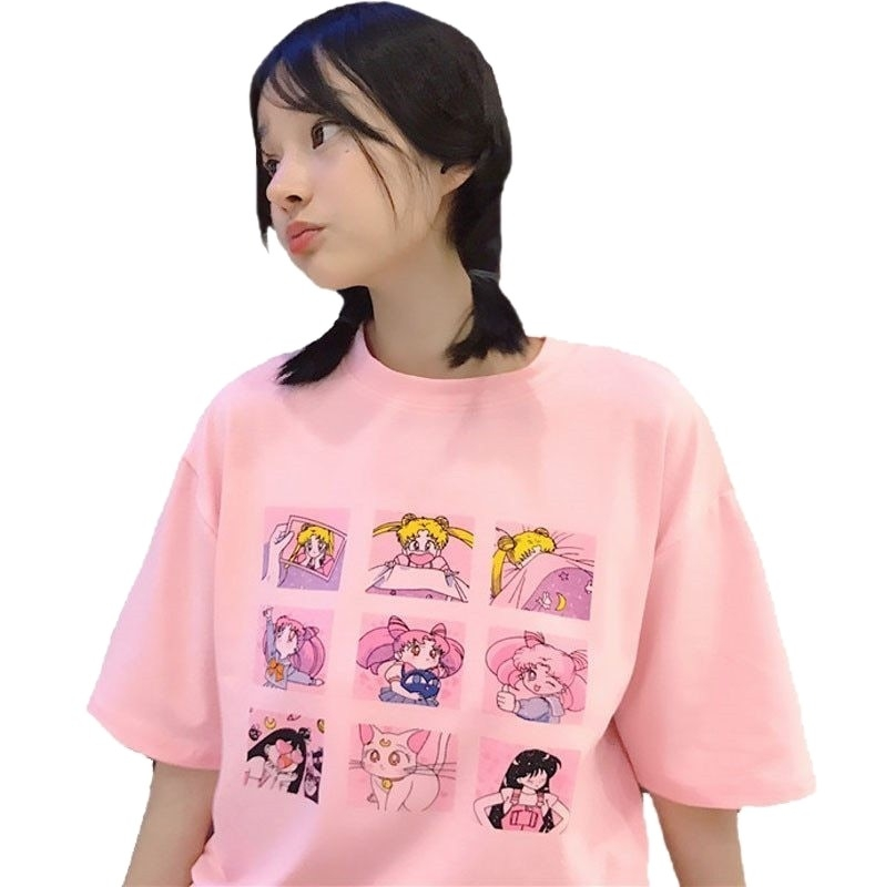 Kawaii Clothing Sailor Moon T-Shirt Anime Otaku Pink White Japan