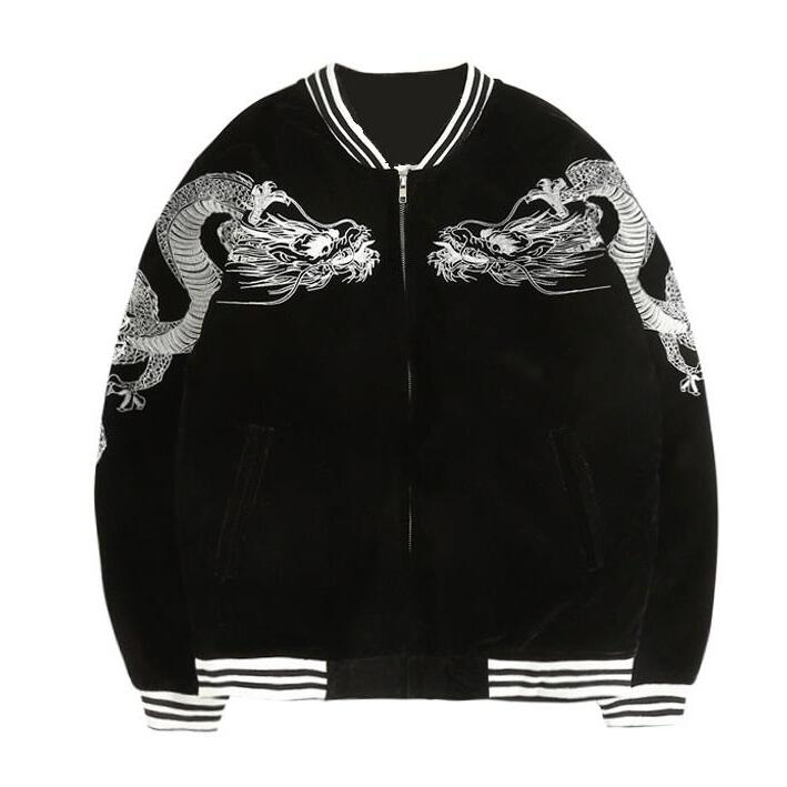 Kawaii Clothing Embroidery Black Dragon Jacket Sukajan Punk Coat