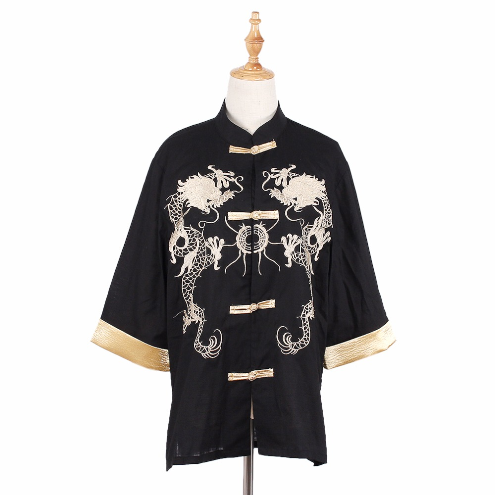 Kawaii Clothing Kimono Dragon Shirt Blouse Jacket Black Golden
