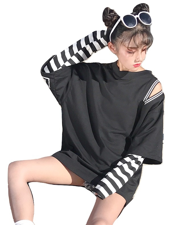 Kawaii Clothing Striped Sleeves T-Shirt Oversize Stripes Punk