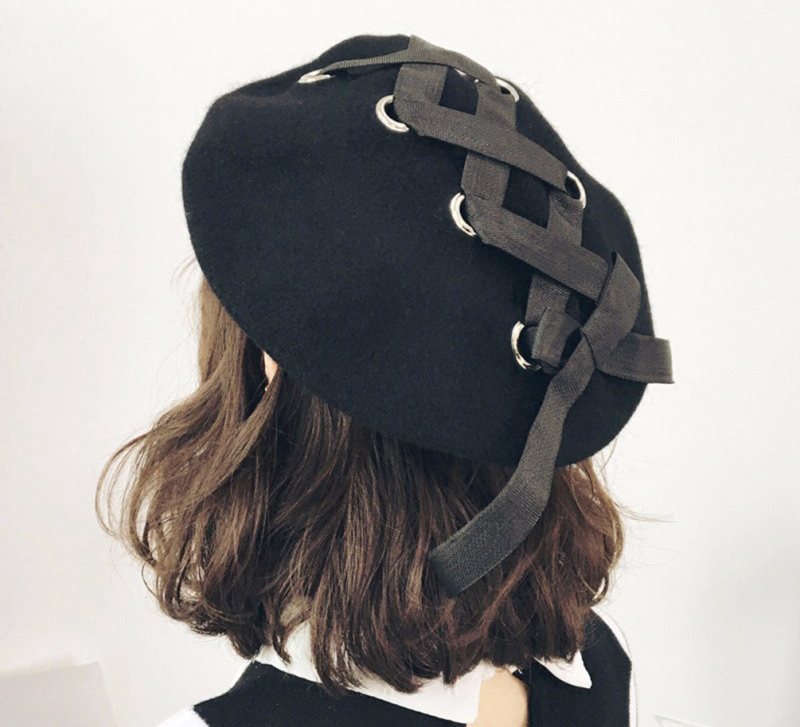 Kawaii Clothing Lolita Bow Beret Hat Cap Black Lace Up Bandage