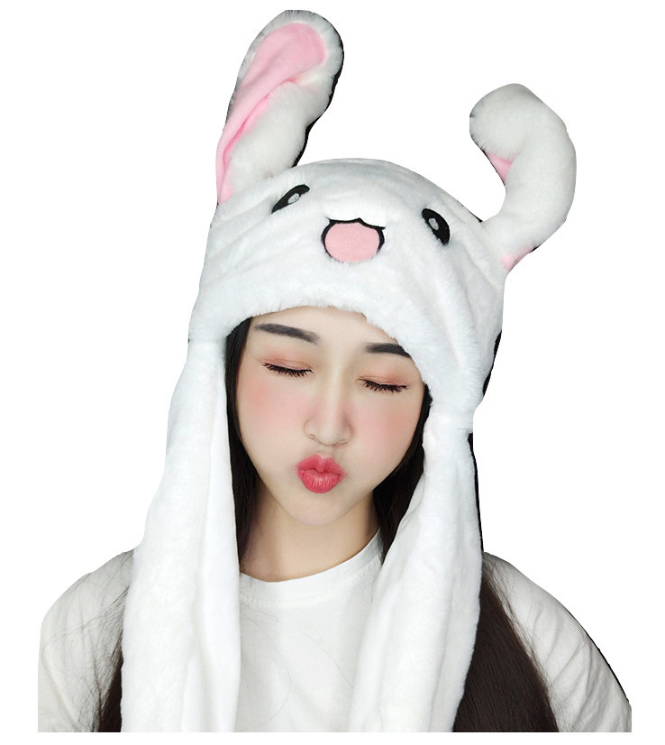 Kawaii Clothing Moving Flapping Move Ears Hat Rabbit White Bunny