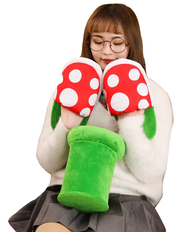 Kawaii Clothing Mario Plant Plush Slippers Shoes Videogame Japan