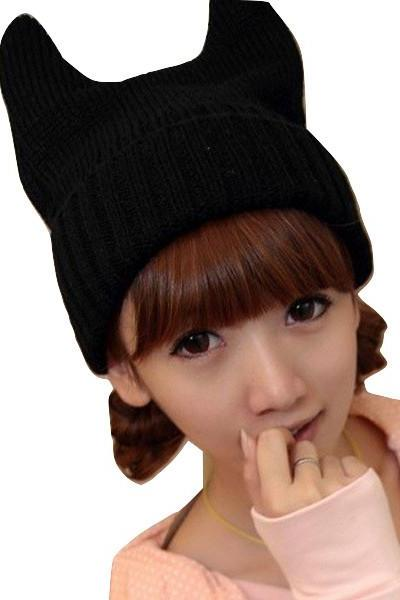 Kawaii Clothing Ropa Cute Hat Beanie Gorro Cat Black Harajuku Ears Demon Devil