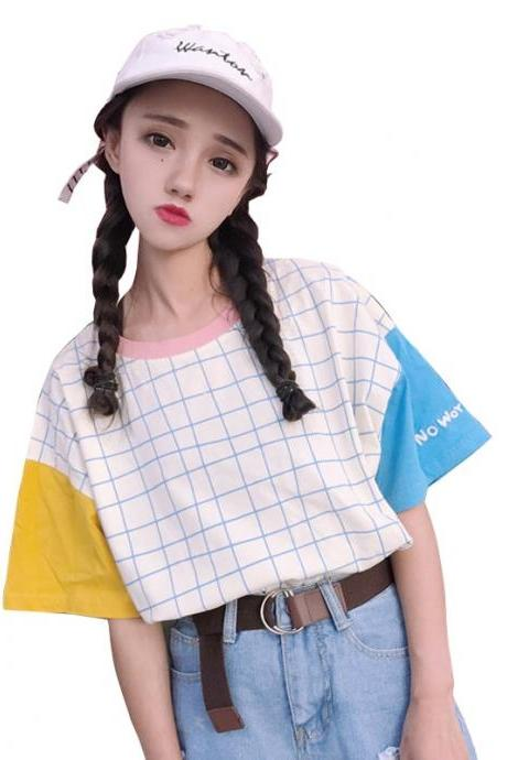 Kawaii Clothing Ulzzang Harajuku Top Japan Korean Plaid T-Shirt