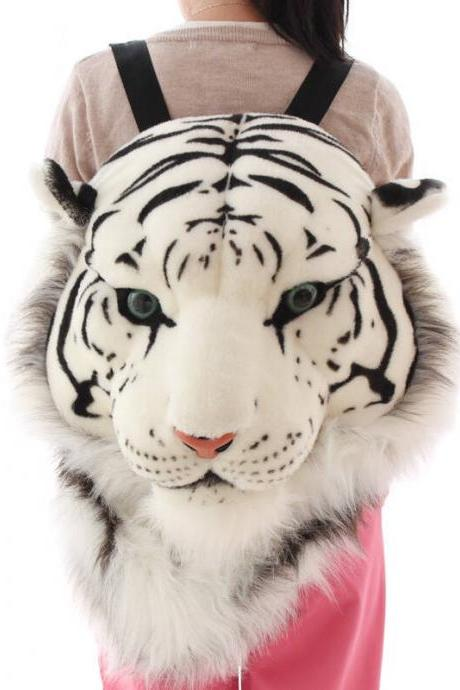 Kawaii Clothing Plush Backpack Bag Mochila Tiger White Lion Head Animal Ears Cat