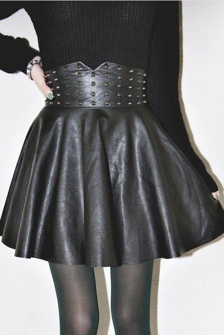 Kawaii Clothing Skirt Cute Falda Ropa Punk Gothic Black Spikes Emo Rock Harajuku