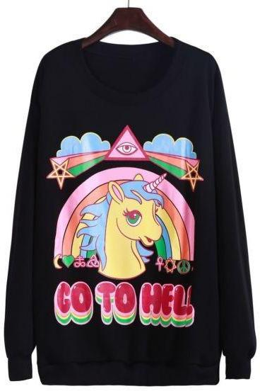 Kawaii Clothing Ropa Cute Pony Unicorn Go To Hell Sweatshirt Rainbow Harajuku