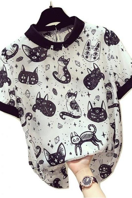 Kawaii Clothing Blouse Cats Shirt Black White Monster Alien Punk WH051