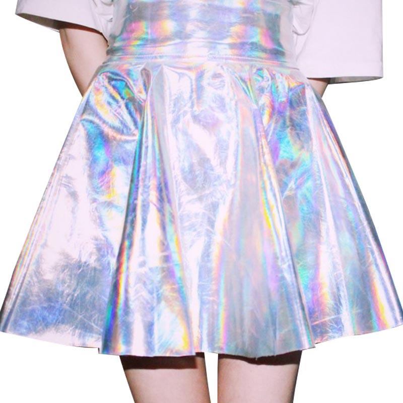 Laser Holographic Silver Metallic Hologram Cool Iridescent Skirt