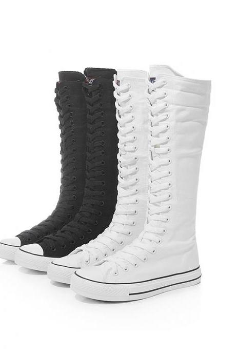 Kawaii Clothing Shoes Long Calf Canvas Black Knee High Sneakers