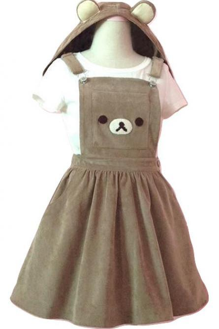 Kawaii Clothing Bear Hooded Ears Cute Suspender Rilakkuma Dress