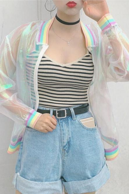 Kawaii Clothing Rainbow Laser Transparent Jacket Harajuku Ulzzang