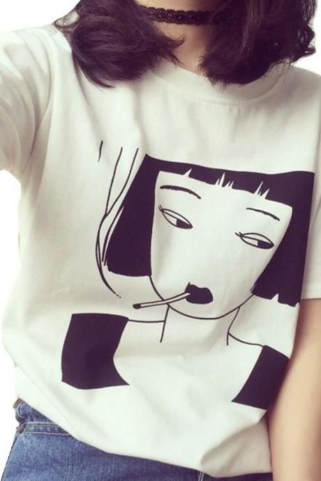 Kawaii Clothing Punk Smoking Girl T-Shirt Tobacco Cool Cigarette