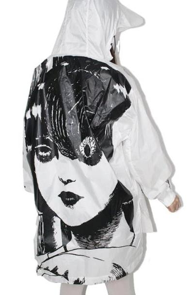 Kawaii Clothing Raincoat Horror Jacket Manga Punk Comic Junji Ito