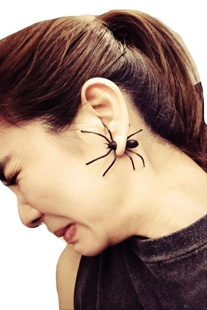 Kawaii Clothing Punk Black Spider Earring Horror Gothic Halloween