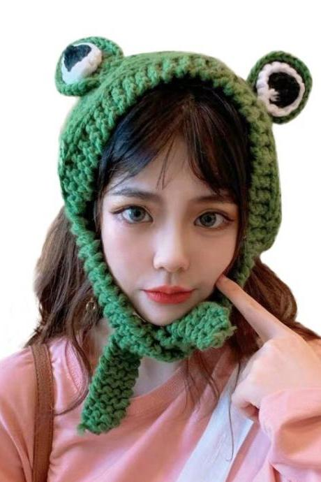 Kawaii Clothing Green Frog Hat Beanie Eyes Harajuku Knitted Cute Funny Japan WH323