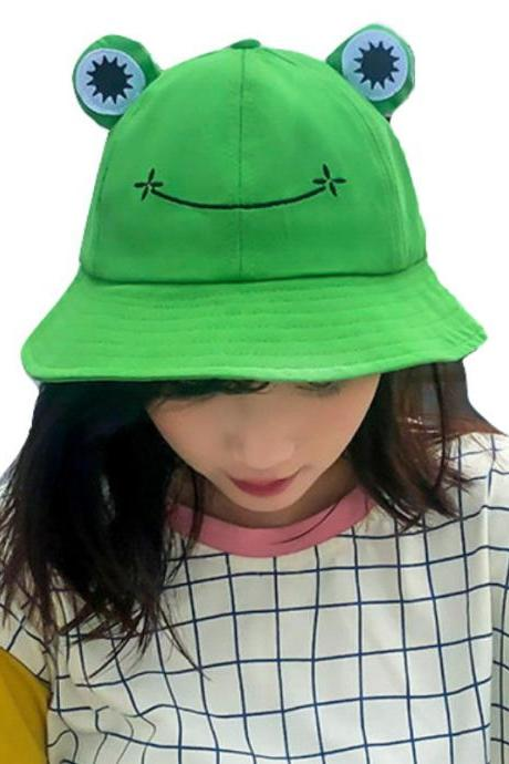 Kawaii Clothing Green Frog Hat Beanie Eyes Harajuku Cartoon Fun Japan Animal WH002
