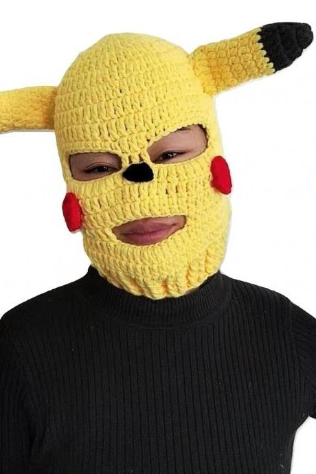 Kawaii Clothing Pikachu Pokemon Ski Mask Knitted Funny Costume Cartoon Anime WH328