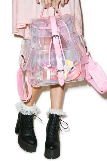 Kawaii Clothing Pink Green Bag Ulzzang Transparent Backpack Japan