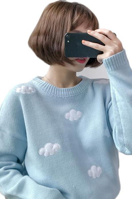 Kawaii Clothing Pullover Blue Sky Clouds Sweater Harajuku Pink
