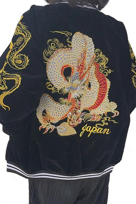 Kawaii Clothing Dragon Jacket Sukajan Bomber Coat Black Harajuku