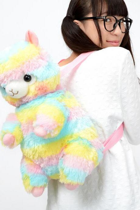 Kawaii Clothing Animal Bag Plush Rainbow Japan Alpaca Backpack