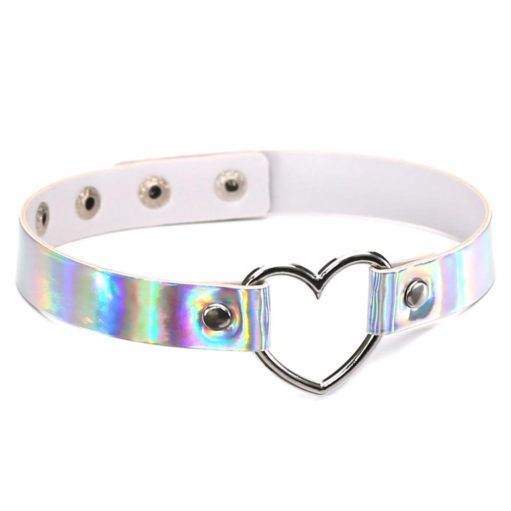 Kawaii Clothing Laser Harajuku Necklace Choker Heart Punk Sexy