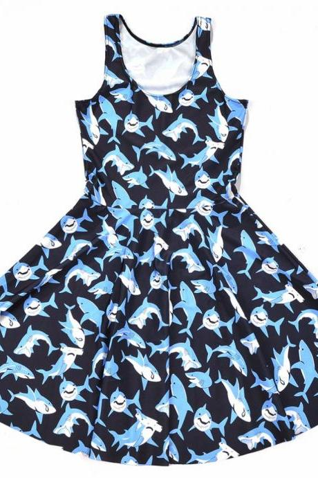 Kawaii Clothing Shark Dress Blue Harajuku Ulzzang Korean Japan