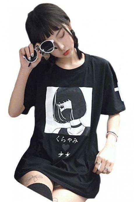 Kawaii Clothing Black Gothic Girl Mask Anime Punk T-Shirt White