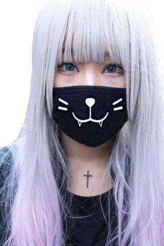 Kawaii Clothing Japanese Mouth Mask Funny Cat Emoji Face Kaomoji WH428
