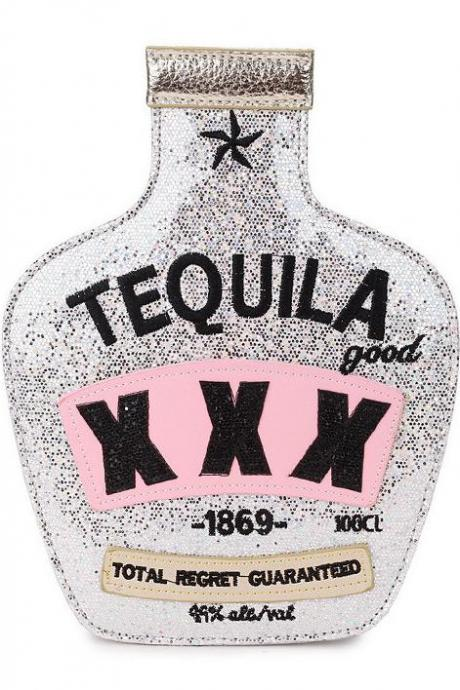 Kawaii Clothing Bottle Shaped Tequila Bag Glitter Mexico Drink