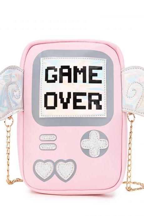 Kawaii Clothing Game Over Bag Videogame Console Wings Portable