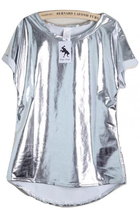 Kawaii Clothing Silver T-Shirt Laser Metallic Shiny Ulzzang Cool