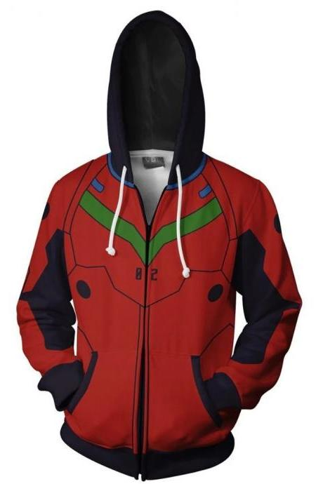 Kawaii Clothing Evangelion Hoodie Jacket Anime Manga Cosplay Costume Otaku WH481