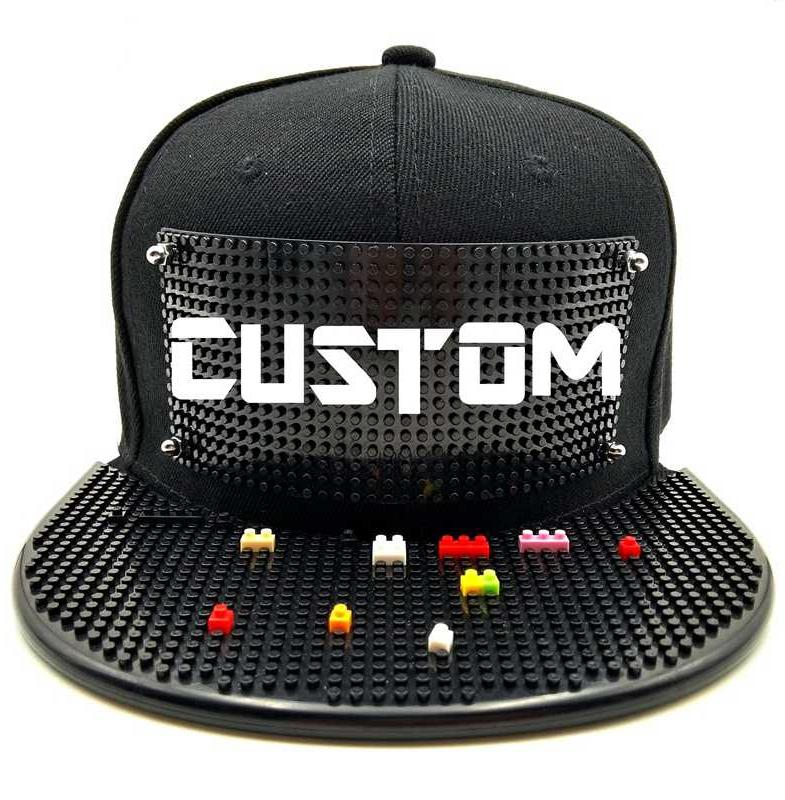 Kawaii Clothing Bricks Cap DIY Hat Custom Hip Hop Black Blocks