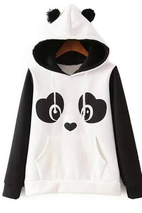 Kawaii Clothing Sweatshirt Ears Bear Panda Hoodie Harajuku White