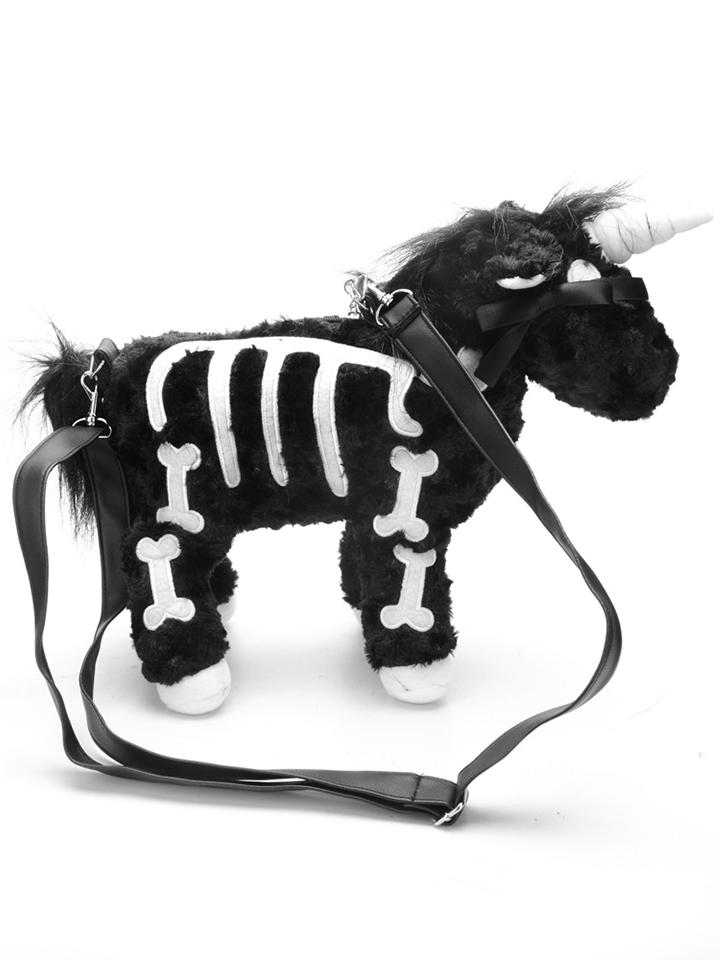 Kawaii Clothing Black Punk Gothic Skeleton Unicorn Bag Horse Emo Pink