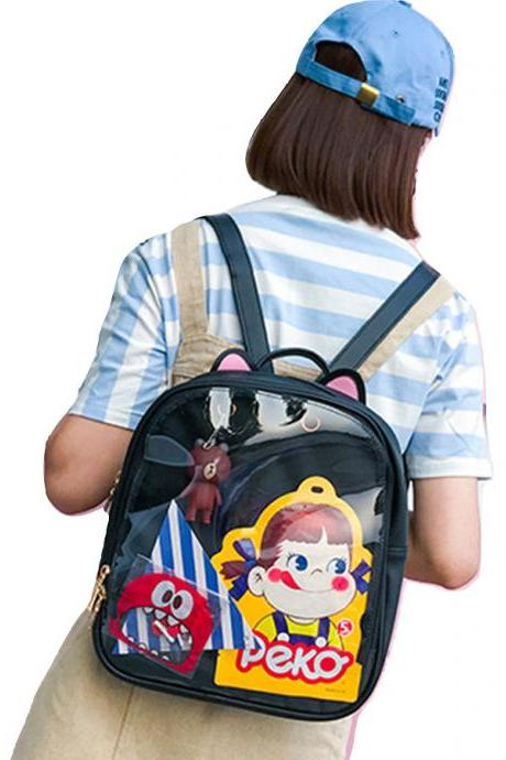 Kawaii Clothing Transparent Backpack Bag Cat Jpop Kpop Badges