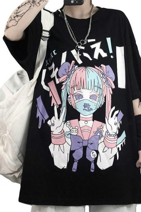 Kawaii Clothing T-Shirt Mask Face Anime Girl Gothic Black Punk WH060