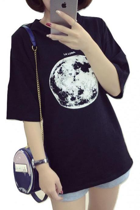 Kawaii Clothing Moon T-Shirt Black White Harajuku Ulzzang Punk