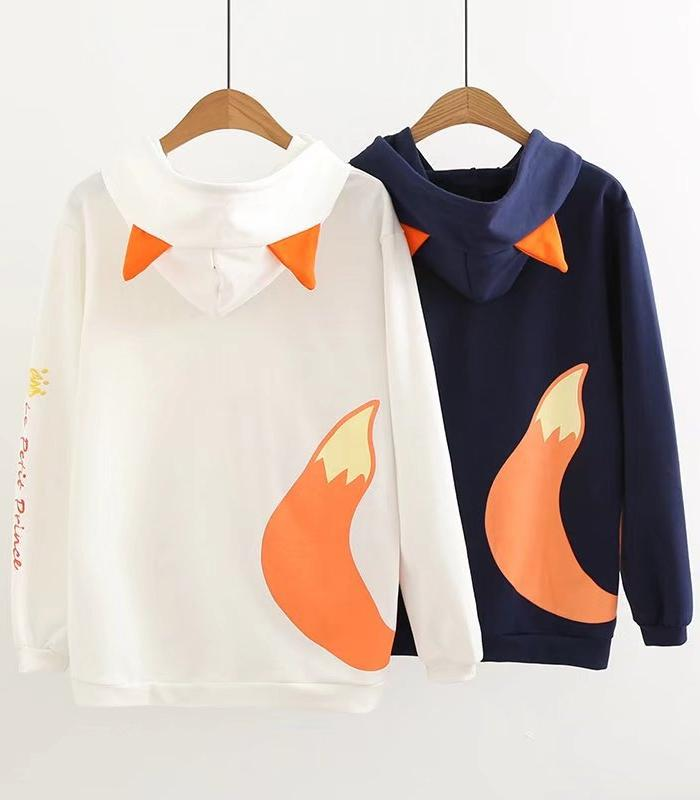 Kawaii Clothing Fox Hoodie Sweatshirt Animal Tail Ears Harajuku