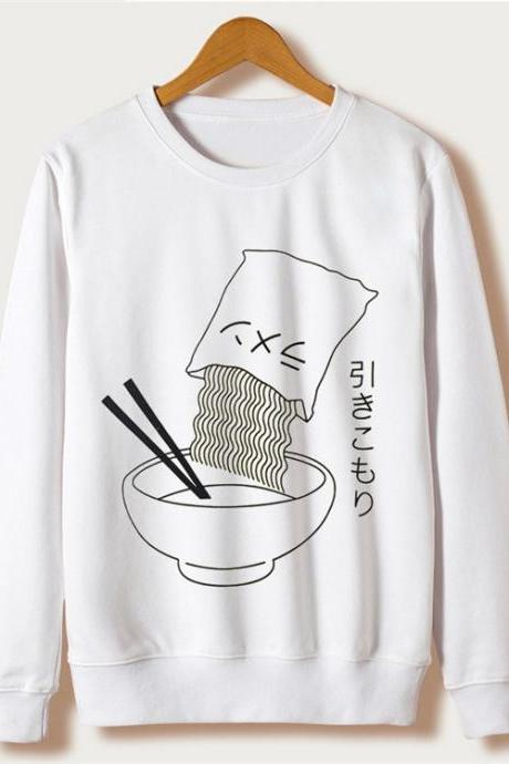 Kawaii Clothing Hikikomori Noodles Sweatshirt Ramen Japanese Emo