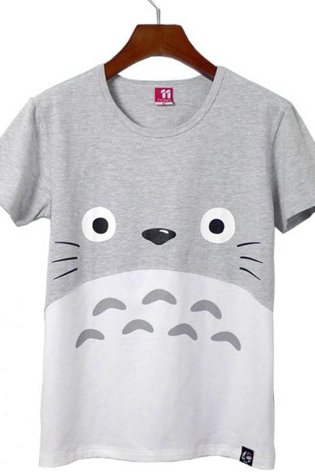 Kawaii Clothing T-Shirt Cartoon Face Animal Japan Eyes Gray Cute