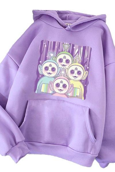 Kawaii Clothing Teletubbies Hoodie Evil Cartoon Punk Harajuku Sweatshirt Pastel Goth WH189