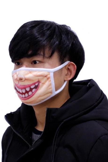 Kawaii Clothing Japanese Dust Mask Funny Fun Mouth Teeth Lips