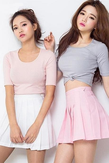Kawaii Clothing Pastel Skirt Pleated Mini Pink Black White Blue
